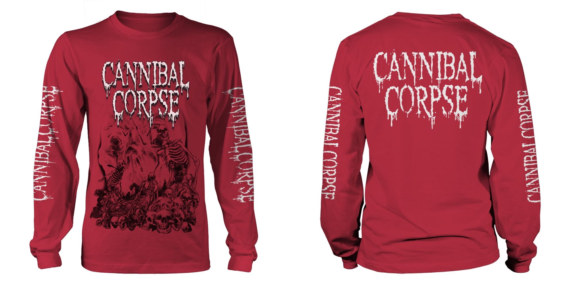 Herrenmode Aus Dem Ausland Importiert Cannibal Corpse Fanartikel & Merchandise Pile Of Skulls 2018 Red T-shirt